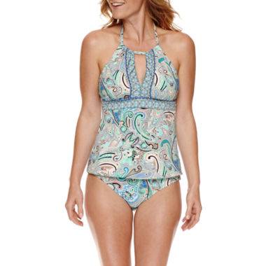 jcpenney.com | Liz Claiborne® Paisley Keyhole Tankini Or Side Sash Hipster