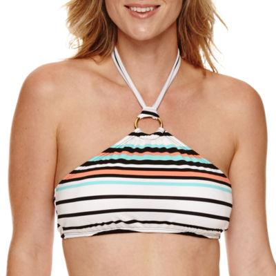 Liz Claiborne Solid High Neck Swimsuit Top