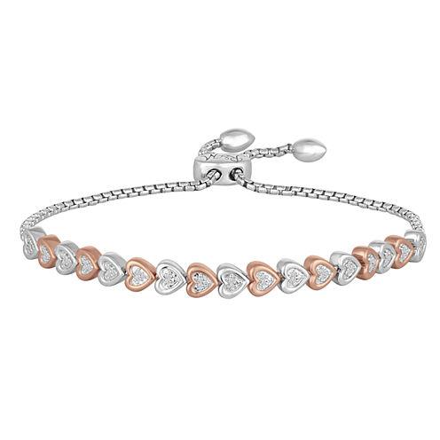 Womens Diamond Sterling Silver Gold Over Silver Bangle Bracelet