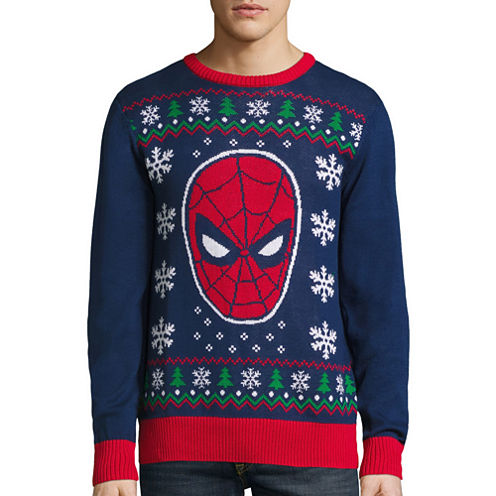 Novelty Season Crew Neck Long Sleeve Spiderman Cotton Blend Pullover Sweater