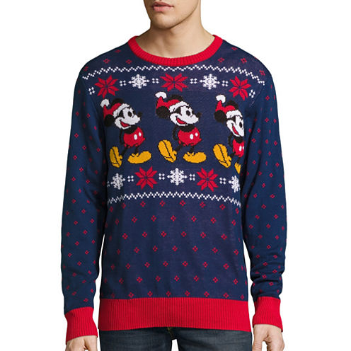 Novelty Season Crew Neck Long Sleeve Mickey and Friends Cotton Blend Pullover Sweater
