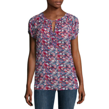 jcpenney.com | Liz Claiborne Short Sleeve Split Crew Neck Woven Blouse