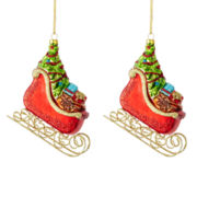 MarthaHoliday™ The Night Before Christmas Set of 2 Sled Christmas Ornaments