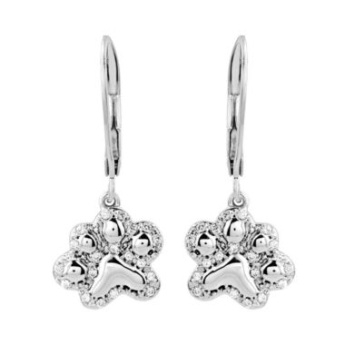 jcpenney.com | ASPCA® Tender Voices™ 1/6 CT. T.W. Diamond Paw Print Drop Earrings