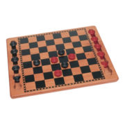Solid Wood Checkers with Wooden Pieces
