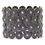 Decree® Gray Disk Crystal Stretch Bracelet