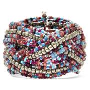Decree® Multicolor Seed Bead Braided Cuff Bracelet