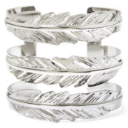 Decree® Silver-Tone Triple Feather Cuff Bracelet