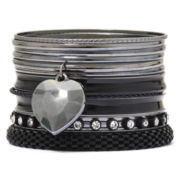 Decree® Mixed Metal & Stone 12-pc. Bangle Bracelet Set