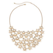 Decree® Simulated Pearl Flower Bib Necklace