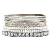 Decree® Silver-Tone Simulated Pearl & Rhinestone 9-pc. Bangle Bracelet Set