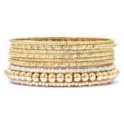 Decree® Gold-Tone Simulated Pearl 7-pc. Bangle Bracelet Set
