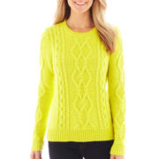 jcp™ Long-Sleeve Chunky Cable Sweater - Petite