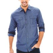 Michael Brandon Long-Sleeve Diamond-Print Dobby Woven Shirt