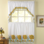 Flower Pot 3-pc. Rod-Pocket Kitchen Curtain Set