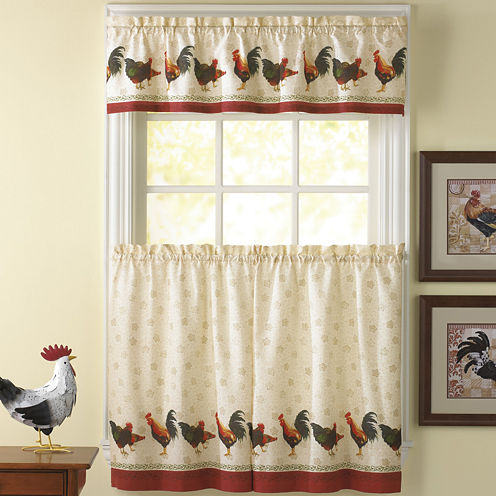 Morning Rooster 3-pc. Rod-Pocket Kitchen Curtain Set