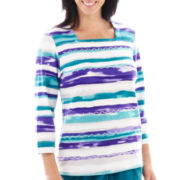 Alfred Dunner® Lake Ontario Watercolor Biadere Knit Top