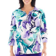 Alfred Dunner® Lake Ontario 3/4-Sleeve Stained Glass Flower Print Top