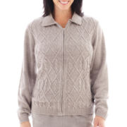 Alfred Dunner® Glacier Lake Long-Sleeve Solid Chenille Cardigan Sweater