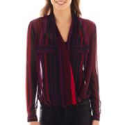 Bisou Bisou® Long-Sleeve Striped Crossover Top