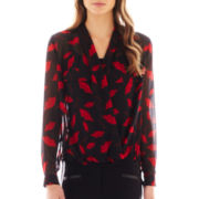 Bisou Bisou® Long-Sleeve Crossover Print Top