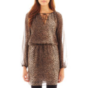 MNG by Mango® Long-Sleeve Animal Print Dress