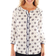 jcp™ 3/4-Sleeve Peasant Top
