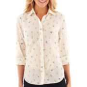 jcp™ Long-Sleeve Cotton/Silk Button-Front Shirt