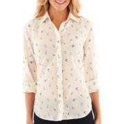 jcp™ Long-Sleeve Cotton/Silk Button-Front Shirt