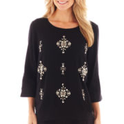 jcp™ 3/4-Sleeve Embellished Jeweled-Front Woven Top