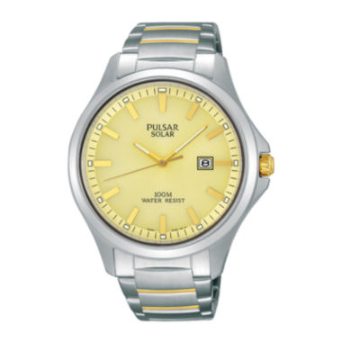 jcpenney.com | Pulsar® Business Mens Two-Tone Stainless Steel Solar Watch PX3075