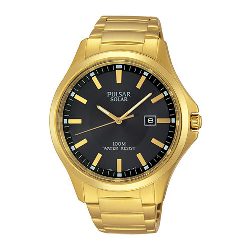 Pulsar® Business Mens Gold-Tone Stainless Steel Solar Watch PX3076