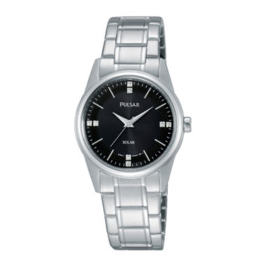 jcpenney.com | Pulsar® Night Out Womens Crystal-Accent Solar Expansion Bracelet Watch PY5001