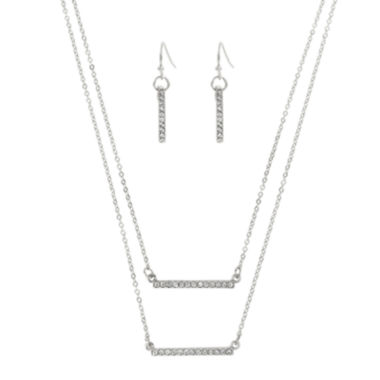 jcpenney.com | Worthington® Silver-Tone Layered Bar Necklace and Earring Set