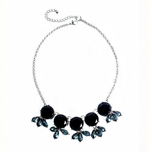 Mixit™ Black Stone Silver-Tone Bib Necklace