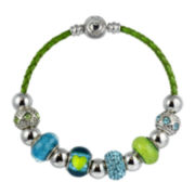 Dazzling Designs™ Silver-Plated Artisan Glass Bead and Green Leather Bracelet