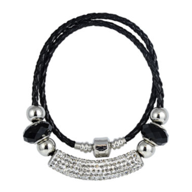 jcpenney.com | Dazzling Designs™ Silver-Plated Black Glass Bead and Leather Multi-Wrap Bracelet