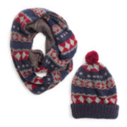 MUK LUKS® Reversible Cap and Eternity Scarf Set