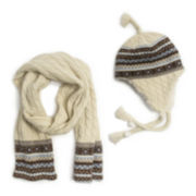 MUK LUKS® Cable-Knit Tassel Helmet and Scarf Set