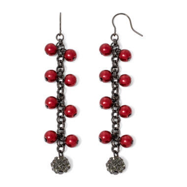 jcpenney.com | Vieste® Red Simulated Pearl and Rhinestone Shaky Earrings