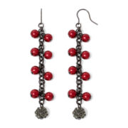 Vieste® Red Simulated Pearl and Rhinestone Shaky Earrings
