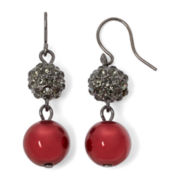 Vieste® Red Simulated Pearl and Rhinestone Drop Earrings