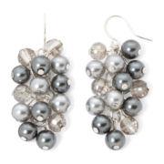 Vieste® Gray Simulated Pearl Silver-Tone Shaky Earrings