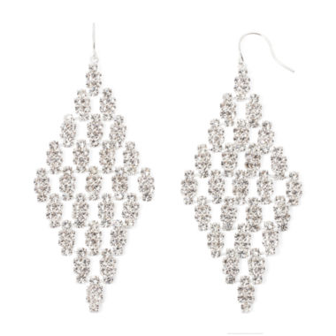 jcpenney.com | Vieste® Crystal Silver-Tone Kite Earrings