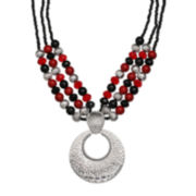 Mixit™ Red and Black Bead Silver-Tone 3-Row Pendant Necklace