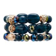 Mixit™ Blue Bead Gold-Tone 2-Row Stretch Bracelet