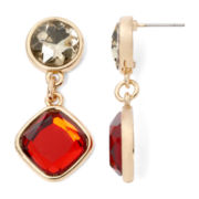 Liz Claiborne® Red Stone Gold-Tone Double-Drop Earrings