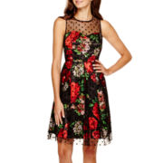 Studio 1® Sleeveless Mesh-Overlay Fit-and-Flare Dress - Petite
