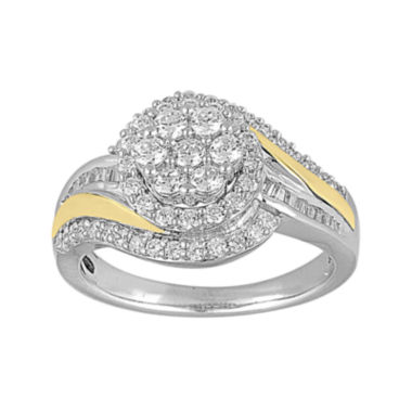 jcpenney.com | LIMITED QUANTITIES 1 CT. T.W. Diamond Two-Tone Gold Cluster Ring