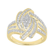 3/4 CT. T.W. Diamond Yellow Gold Cluster Ring
